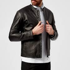 emporio armani men s leather biker jacket nero nero image 1