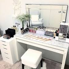 vanity table organization ideas. i have a mirror like that one in my living room! put marble top back on vanity table today. love the look this creates with\u2026 organization ideas n