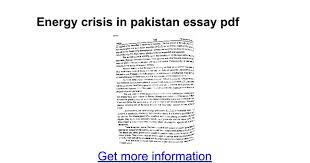 energy crisis in essay pdf google docs