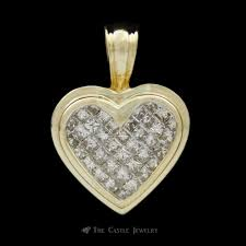 1cttw heart shaped invisible set princess cut diamond pendant crafted in 14k yellow gold