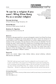 pdf it can be a religion if you want wing chun kung fu as a secular religion