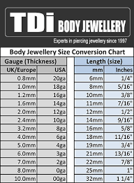 Body Piercing Jewellery Sizing Guide Tdi Body Jewellery Blog