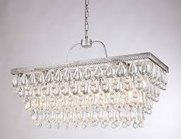 dst antique silver rectangular glass crystal chandelier ceiling lighting fixture for kitchen island dining room living room and so on