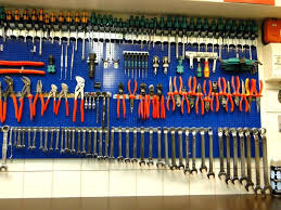 large image for garage blue pegboard workbench with all kinds of tool holdershome depot wall storage