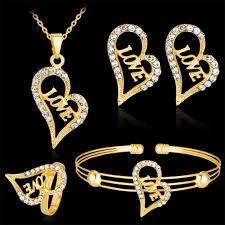 women hollow love heart pendant necklace bracelet ring earrings jewelry set