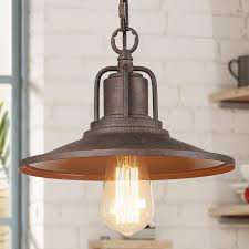 Lighting Finishes Laluz Pendant Lighting For Kitchen Island Farmhouse Hanging Lamp With Rust Finishes And Horn Shape For Living Room Bedroom Hallway A03273