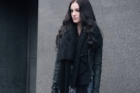 daisy fashion blogger stephanie of faiiint wearing asos scarf barneys original s dd leather jacket