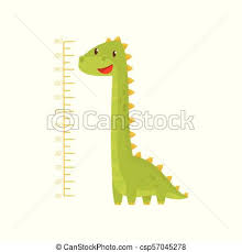 Height Chart For Measuring Kids Growth With Adorable Green Dinosaur Meter Wall Sticker For Children Room Flat Vector Design