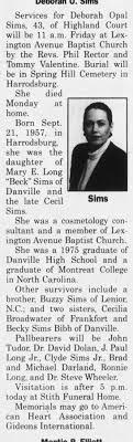 Obituary for Deborah Opal Sims (Aged 43) - Newspapers.com