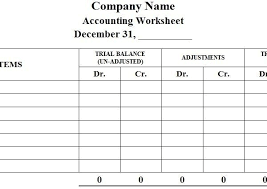 Accounting Worksheet Format Preparation Example Within