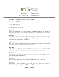 role model small business management past exam the document