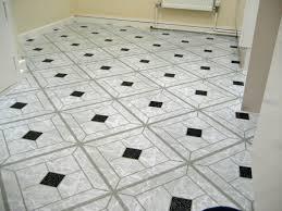 Black And White Vinyl Floor Tiles With Alluring Diamond Pattern