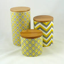 Yellow Canister Sets Kitchen Set Of 3 Modern Retro Ceramic Canisters Kitchen Chevron Yellow