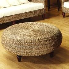 rattan coffee table ottoman large round with glass top