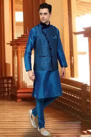 Designer Kurta Pajama With Basket Blue Designer Indian Kurta Pajama With Nehru Jacket F15607