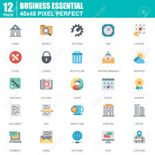 Stroke Communication Chart Flat Business Essential Communication And Office Icons Set For