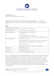 List item Draft assessment report on Vaccinium myrtillus L., fructus