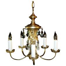 modern chandelier nickel plated 5 light light fixture w fancy cut glass prisms vintage mid century
