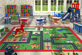 kids childrens green town rugs rug mat in modern design for play mat