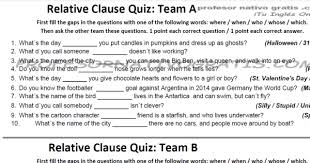 Examine clause position and punctuation. Relative Clauses
