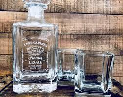 21st birthday gift finally legal custom engraved gl whiskey decanter twenty first birthday gift for him personalized liquor decanter