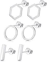 Sllaiss 3 Pairs <b>925 Sterling Silver</b> Stud Earrings Set Bar Earrings ...