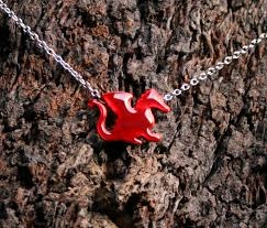 baby red dragon enameled copper and sterling silver pendant forest friends collection welsh dragon exclusive design eco friendly