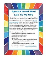 I Created This Vowel List As A Supplement To My Apraxia Word List
