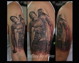thomas blackshear s forgiven painting tattooed by kimo black and grey religious half