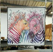glass wall art multi coloured zebras liquid with a mirrored frame hanging decor glass wall art