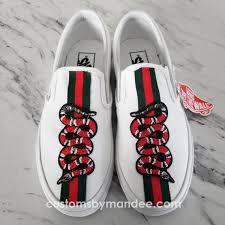 Snake Slip On White Custom Vans Shoes In 2019 Custom