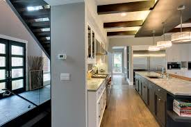 kitchen staircase and entry door view