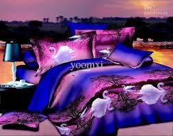 sweet idea purple full size bedding home textile blue swan lake queen 3d set quilt duvet