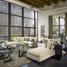 chic living room. Inspiration For A Huge Industrial Living Room Remodel In Chicago With White Walls Chic