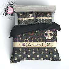 personalized sugar skull duvet bedding sets bed set uk