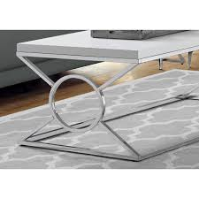 monarch specialties 44 coffee table in glossy white chrome metal touch to zoom