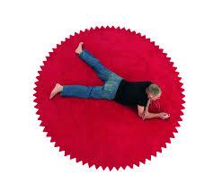 modern round area rug red