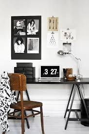 black and white home office. Black And White With Touch Of Brown In Home Office A