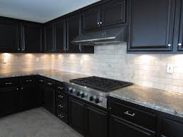 kitchen backsplash glass tile dark cabinets. Fine Cabinets White Glass Tile Backsplash With Dark Cabinets On Kitchen N