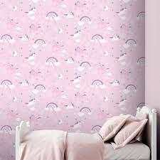Mädchen Einhorn Tapete Kinder Pink Weiß ...