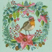 Servietten 33x33 Cm Robins Wreath Bei Servietten Wimmel