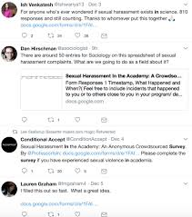 "what can a crowdsourced survey of sexual harassment in academia  tweets related to kelsky s survey from ish venkatesh ishwariya13 ""for"