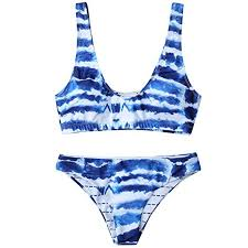 Amazon Com Ularma Women Blue Waves Print Tankini Set Bikini