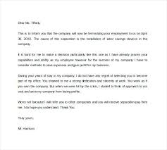 Letter Of Termination Of Employment Termination Letter For Employee