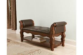 furniture for entryway. Enhance Your Bedrood With This Brown Wooden Curved Upholstered Bench Furniture For Entryway