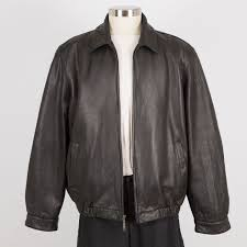 mens leather jacket size xl black insulated brandini