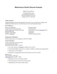 Maintenance Job Resume Objective Maintenance Job Resume Objective