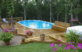 deck above ground pool landscaping