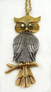 silver and gold massive owl pendant necklace