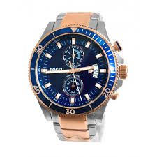 ch2954 wakefield blue chrono date dial silver rose gold men fossil ch2954 wakefield blue chrono date dial silver rose gold men watch new